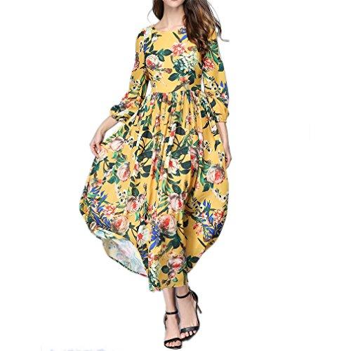 資本主義アラブ宗教的なHonghu レディース 夏 レトロ 長袖 花柄 プリント カジュアル マキシ ドレス