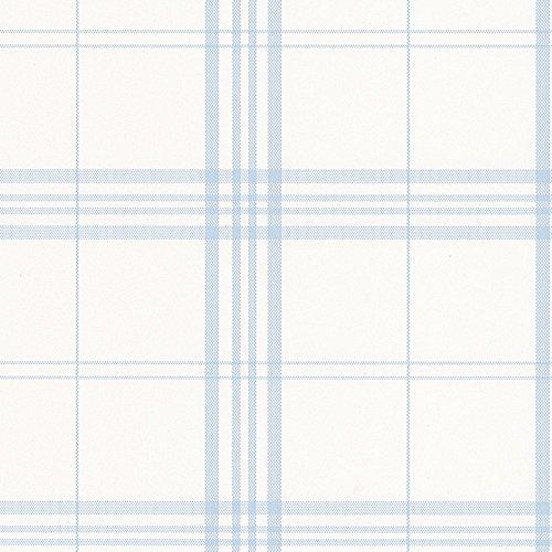 Norwall FK26929 Plaid Wallpaper Blue, White