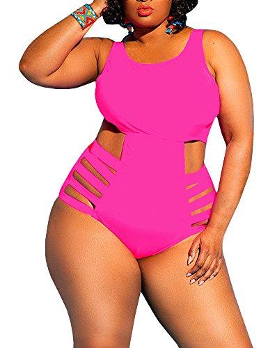 Rotita Womens One Piece High Waist Plus Size Swimsuits Sexy Tummy Control Bandage (Hot Pink Swimsuit)