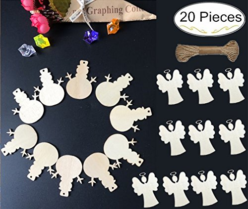 20 Piece Merry Christmas Wooden Embellishments, Magnolora Plain Wood Crafts Angel and Snowman Hanging Ornaments with Jute Twine for Christmas, Arts Crafts DIY - Snowman Diy