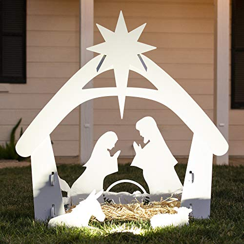 Best Choice Products 4ft Christmas Holy Family Nativity Scene, Outdoor Yard Decoration w/Water Resistant PVC (Scene Decor Outdoor Christmas Nativity)