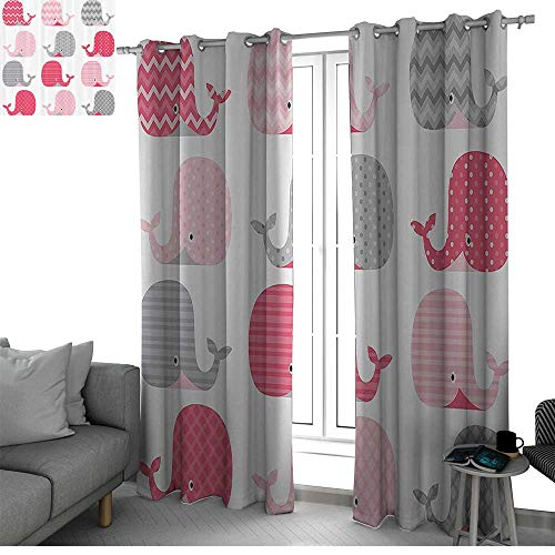 Weathermate Thermal Top Grommet - bybyhome Whale Decor Blackout Curtains Panels for Bedroom Cute Patterned Whales Design Perfect for Baby and Toddler Rooms Kids Room Decor Pink Grey and Light Pink W120 x L84 Inch