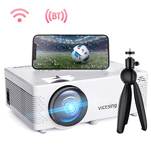 VicTsing WiFi Projector, Bluetooth & Screen Mirroring, 3600 Lux Wireless Projector Bluetooth with Tripod, 1080P Supported, HiFi Sound. Mini Projector Compatible with TV Stick, PS4.【2019 New Tech】