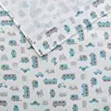TN 4 Piece Cute Off White Teal Blue VW Bus Sheet Set Full Sized, Grey Travel Themed Bedding Camping Trailer Woods Road Trip Travelling Inspired Mountains Gray Signs, Microfiber Polyester