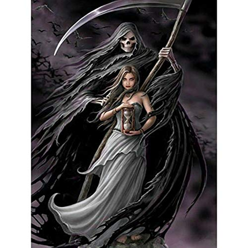 Full Drill 5D Diamond Painting Kit Cross Stitch Supply Arts Craft Canvas Wall Decor Skeleton Demon and Girl 11.8x15.7in 1 Pack by Aimerson