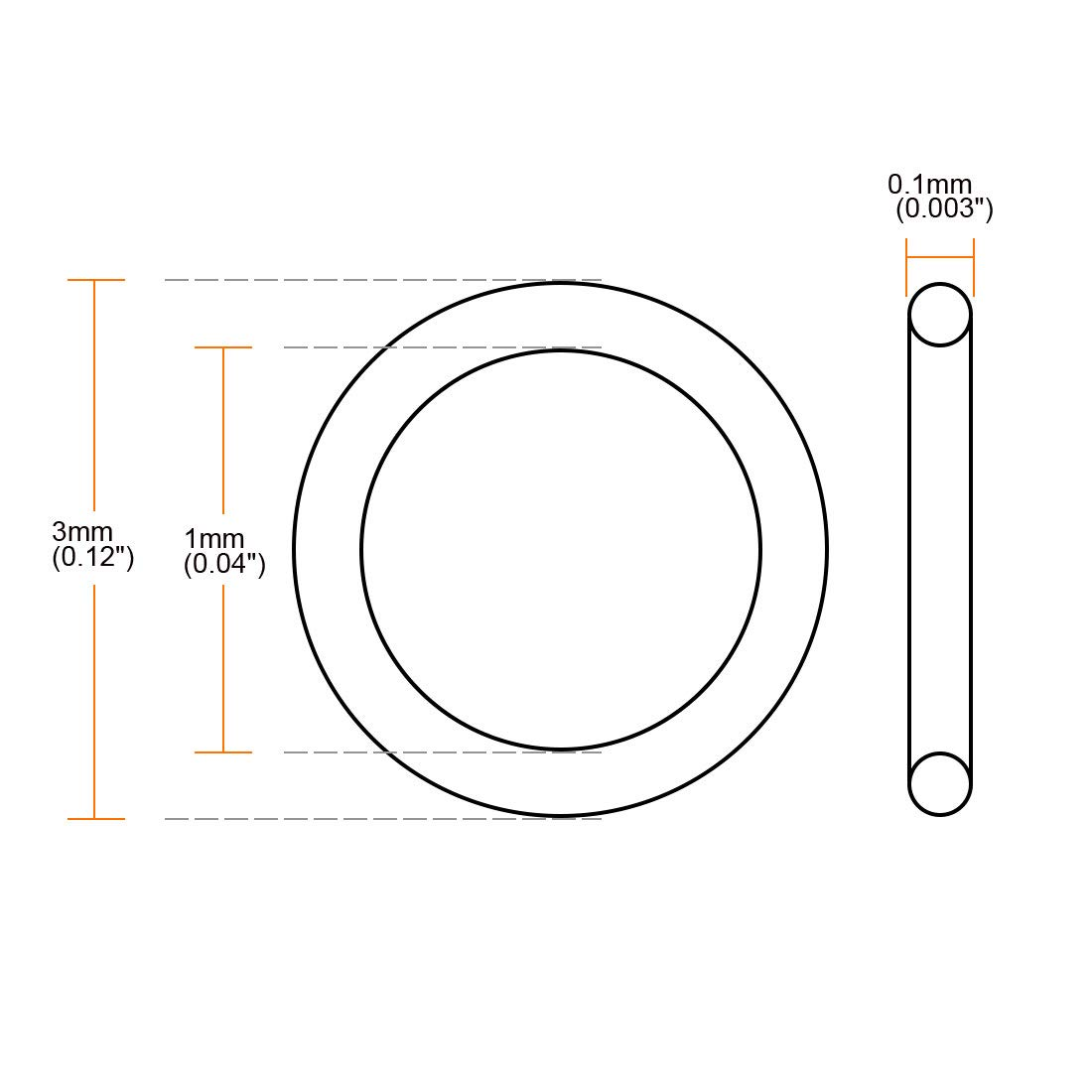 uxcell Silicone O-Rings Pack of 10 3mm OD 0.1mm ID 1mm Width VMQ Seal Gasket for Compressor Valves Pipe Repair White