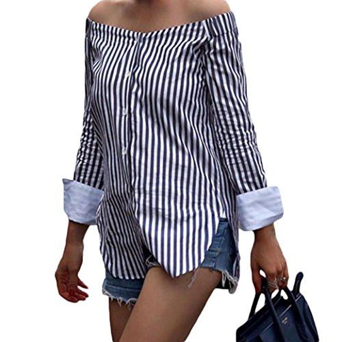 Chemisier Femme Chemise Lisse Off Rayure Shirt Top BriskyM Verticale Blouse shouder OL Style Casual qA5dpxwp8
