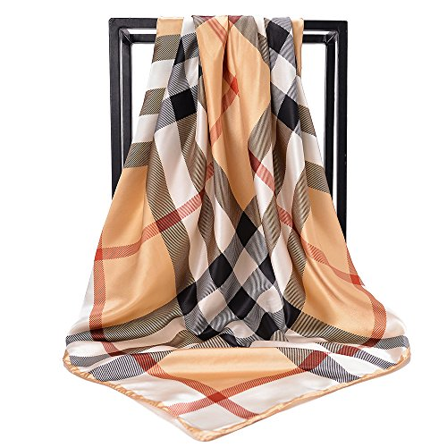 (NUWEERIR Womens Large Satin Square Scarf Silk Feeling Hair Wrapping Gift Designer Scarf 35x35)