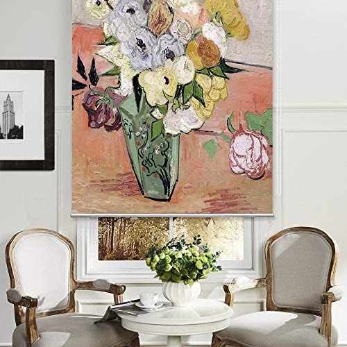 PASSENGER PIGEON Blackout Window Shades, Japanese Vase with Roses and Anemones, by Vincent Van Goah, Premium UV Protection Custom Roller Blinds, 70 W x 80 L