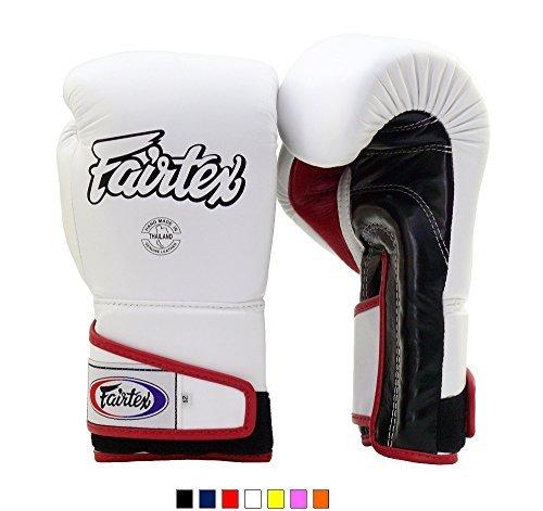 xing Gloves BGV6 White Black Red 16 oz Training & Sparring Gloves for Kick Boxing MMA K1 ()