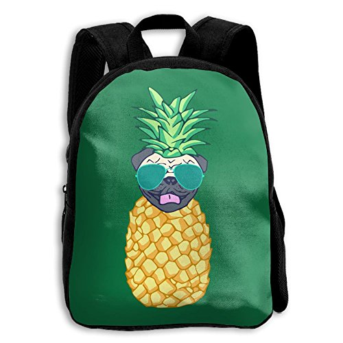 Toddler Kids School Bag Teens Double Shoulder Print Backpacks Pineapple Sunglass Pug Travel Gear Daypack Gift (Susan Print Glass)