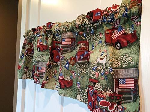 Patriotic Americana Antique Truck USA Curtain - Curtain Americana
