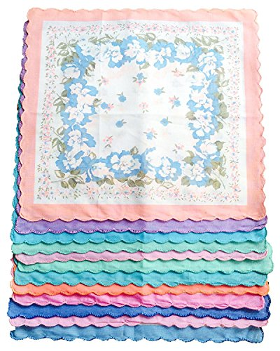 Women's 6/12 Pack Cotton Handkerchiefs Vintage Inspired in Floral Prints