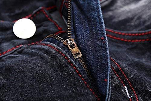 Classiche Retrò Etero Cher Uomini Braun Pantaloni 5 Casual Dimagriscono Patch Fori Dei Distintivo Jeans Ragazzi Denim Torn wqvUB
