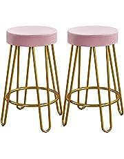 Yaheetech Barkruk, set van 2 barstoelen, bistrokruk, rond zitvlak van fluweel, metalen frame met voetensteun, roze