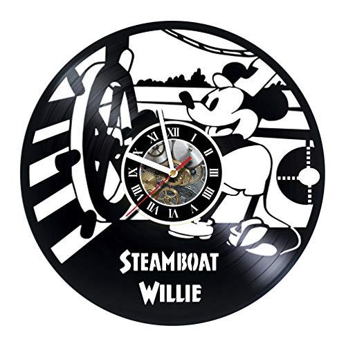(KravchArt Steamboat Willie - Walt Disney - Design Vinyl Wall Clock - Handmade Gift for Any Occasion - Unique Birthday, Wedding, Anniversary)