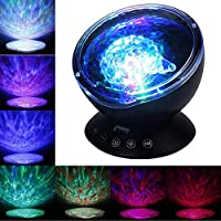 ICOCO Ocean Wave Projector Lamp Night Light Lamp and Built-in Mini Music Player with Remote Control for Kids Adults Bedroom Living Room Romantic Atmosphere Decoration Lighting