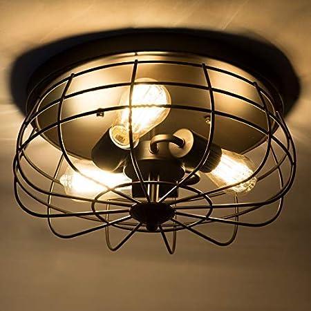 Farmhouse Semi Flush Mount,Metal Oil Rubbed Bronze Cage CO-Z 15 Inch 3-Light Vintage Industrial Ceiling Light Fixture Black Chandelier for Hallway Kitchen Bedroom Dining Room