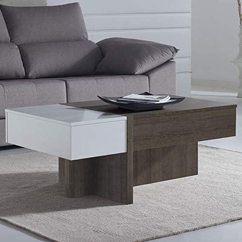 M-020 Mesa salón modulable Moderno Color Roble y Blanco Sybille 2 ...