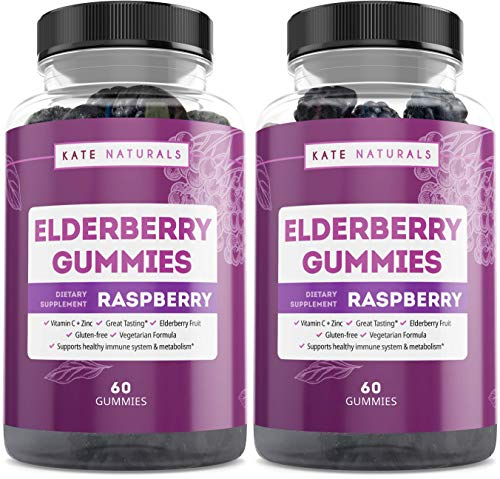 Elderberry Gummies for Adults - Kate Naturals. Perfect for Immune System Support & Metabolism. Raspberry Flavor. Has Vitamin C and Zinc. Sambucus Nigra. Tasty Vitamins Alternatives. (2 Pack)