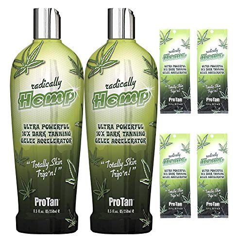 (Pro Tan Radically Hemp Ultra Powerful 10X Dark Tanning Gelee Accelerator 8.5 oz 2-Pack + 4- Travel Packets | Shrink wrapped, Bubble Wrapped Shipped in a Strong Box that can be used for Storage )