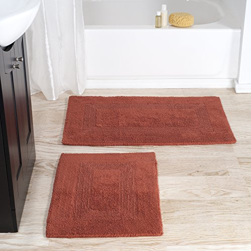 (Cotton Bath Mat Set- 2 Piece 100 Percent Cotton Mats- Reversible, Soft, Absorbent and Machine Washable Bathroom Rugs By Lavish Home (Brick) )