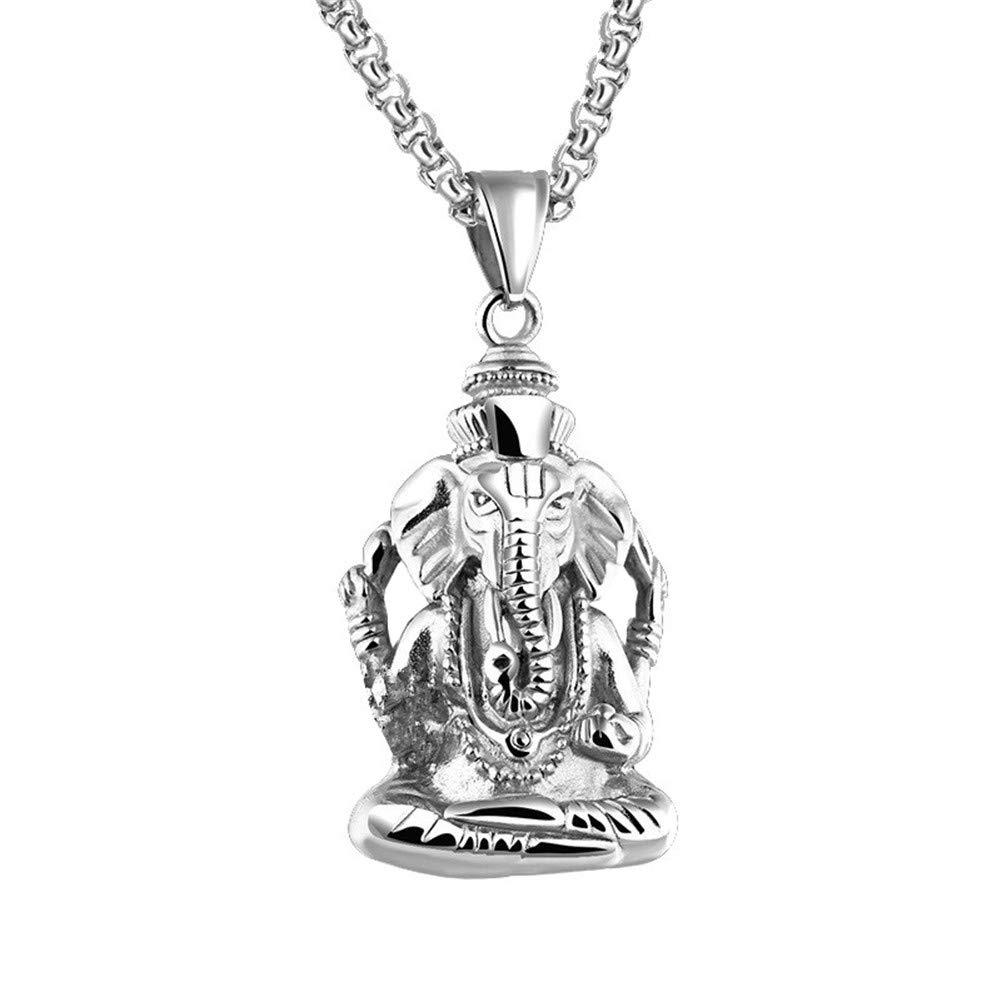PAURO Homme en Acier INOX Ganesha /Él/éphant Dieu du Succ/ès Collier Pendentif Lucky Vintage