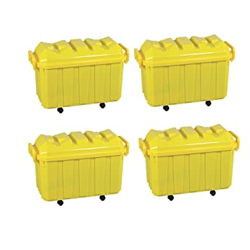 ECR4Kids Stackable Storage Trunk, Yellow, 4 Pack