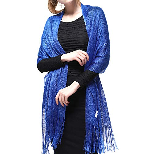 Metallic Wrap Scarf - Womens Wedding Evening Shawl and Wrap Glitter Metallic Party Dresses Scarf with Fringe (Royal Blue)
