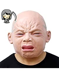 Halloween Crying Ugly Face Mask Full Head Funny Party Cosplay Masks Latex Realistic