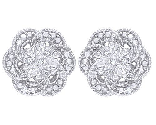Round Cut Natural Diamond Accent Flower Stud Earrings in 14K White Gold Over Sterling Silver by Wishrocks