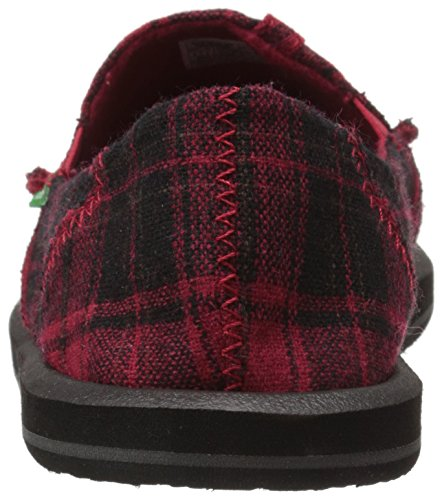 Sanuk Women's Pick Pocket Plaid Flat, Black Plaid Vest, 3 UK Red Plaid Vest