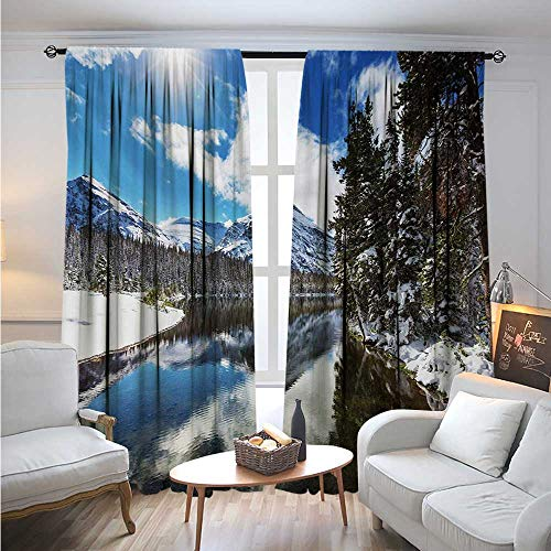 WinterBlackout DrapesTranquil View of Glacier National Park in Montana Water Reflection PeacefulBlackout Curtain Panels W72 x L96 Brown Blue White