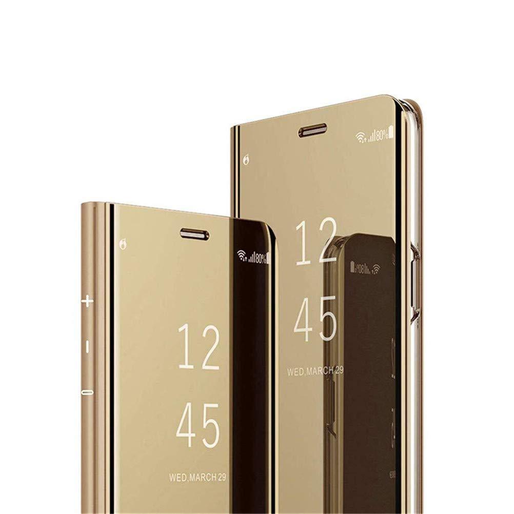 COTDINFOR iPhone XR Funda Espejo Ultra Slim Ligero Flip Funda Clear View Standing Cover Mirror PC + PU Cover Protectora Bumper Case para iPhone XR (6.1 Inch Gold Mirror PU MX.