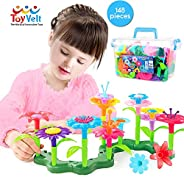 ToyVelt Flower Garden Building Toys for Girls - (148 pcs) Floral Arrangement playset STEM Toy Plus A Container
