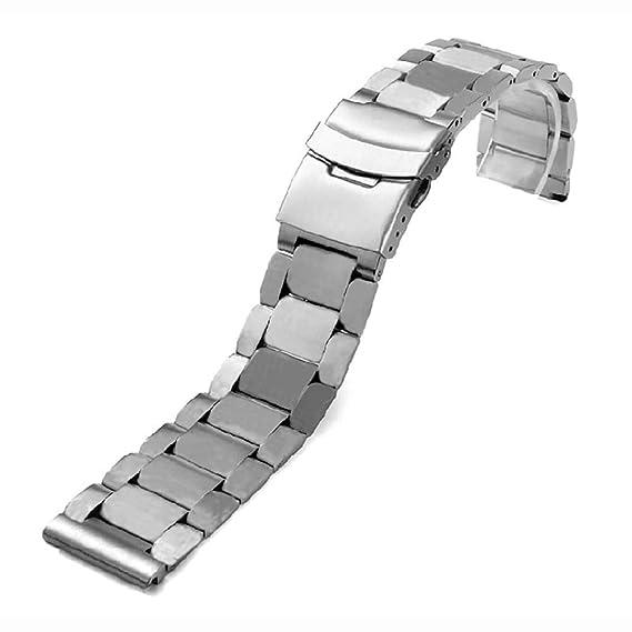 Correa de Reloj de Acero Inoxidable de 24 mm, Unisex, botón de presión con Seguridad, Pulsera de Repuesto: Amazon.es: Relojes