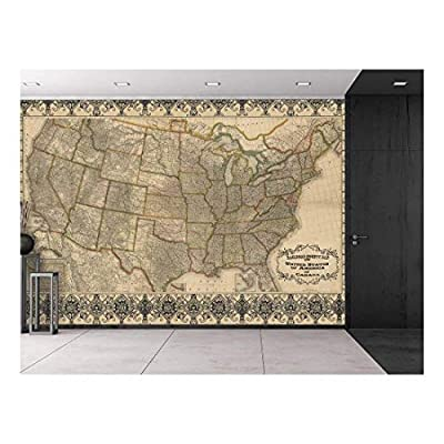 Historical Railroad and Antique County Map of The United States c. 1876 - Restored Etched Graphic from 19th Century - Wall Mural, Removable Sticker, Home Decor - 66x96 inches