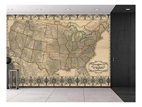 Railroad and Antique County Map of The United States c. 1876 - Restored Etched Graphic from 19th Century - Wall Mural, Removable Sticker, Home Decor - 66x96 inches ()