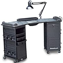 M603 Vented Manicure Nail Table Double Lockable Cabinet Black Marble lam. Top by Dina Meri
