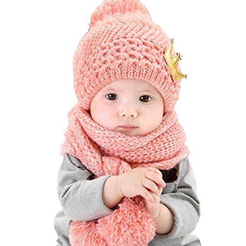 Mikey Store Cute Winter Baby Kids Girls Boys Warm Woolen Coif Hood Scarf Caps Hats (Pink)