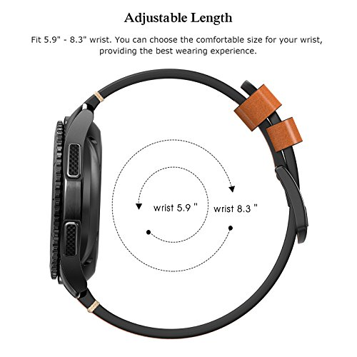 Swees Leather Bands Compatible Gear S3 Frontier/Classic, 22mm Genuine Leather Band Buckle Strap Replacement Wristband Compatible Samsung Gear S3 Frontier/Classic Smart Watch, Brown by SWEES (Image #8)