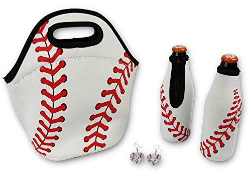 Iron Band Baseball Gift Bundle, Baseball Neoprene Lunch Bag, 2 Baseball Beer Bottle Cooler, Baseball Earrings for Sports Fan Men Women