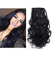 """Black Hair Extensions Full Head Clip in Curly Wavy Synthetic Hairpiece 7Pcs 20"""" Heat Friendly Fib..."""