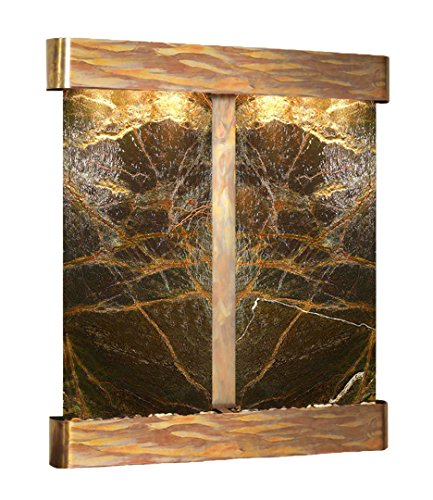 Copper Round Wall Fountain - Cottonwood Falls Water Feature with Rustic Copper Trim and Round Edges (Rainforest Green Marble)