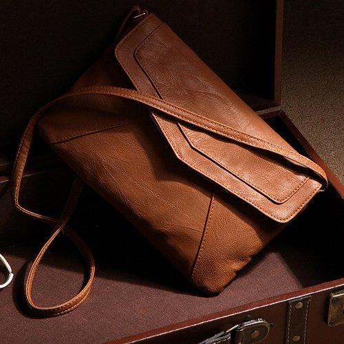 TOOGOO(R) Borsa busta delle nuove donne di modo del cuoio del messaggero borse borsa spalla Crossbody Croce body bags delle borse cartelle Bolsas Marrone