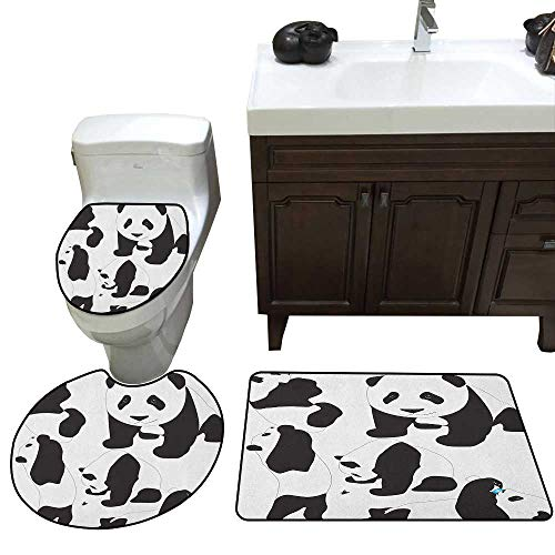 (Moeeze-Home Zoo Custom Toilet Seat Cover Drawing of Baby Pandas Milk Bottle Fly Adorable Animal Figures Child Mammal Toilet Bath Mats Rugs Charcoal Grey White)