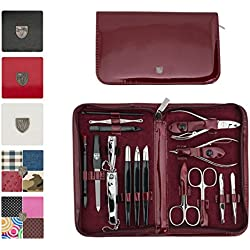 3 Swords Germany - brand quality 16 piece manicure pedicure grooming kit set for professional finger & toe nail care scissors clipper fashion leather case in gift box, Made in Solingen Germany (01597)