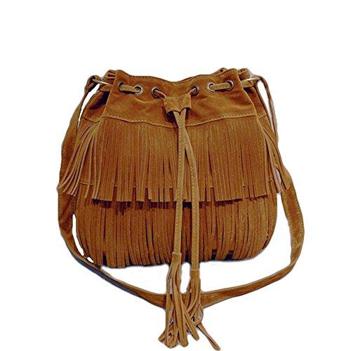 Brown Suede Fringe Crossbody Bag - 7