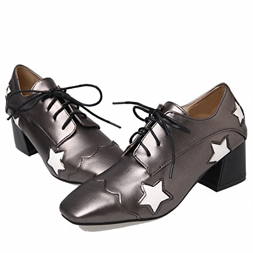 Show Shine Womens Casual Chunky Heel Lacing Up Oxfords Shoes Taupe b43nu5ul