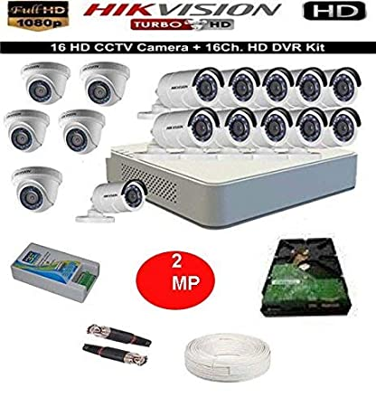 Hikvision 16-Channel HD Bullet Camera with Night Vision Dome Cameras at amazon